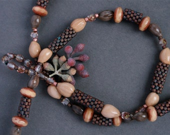 short beaded necklace made of natural seeds and handmade beads - anniversary gift for her