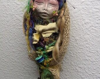 ooak art doll. Little  Kitchen Witch, Shabby Chic Decor, OOAK Art Doll