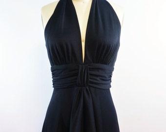 Black Halter Hi Low Dress | 1970s Vinrage Maxi Dress | Size