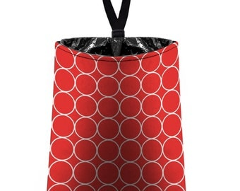 Car Trash Bag // Auto Trash Bag // Car Accessories // Car Litter Bag // Car Garbage Bag - Rings (red and white) // Car Organizer