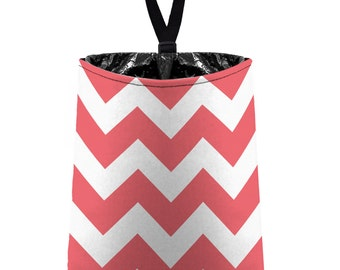 Car Trash Bag // Auto Trash Bag // Car Accessories // Car Litter Bag // Car Garbage Bag - Chevron - Coral Pink and White