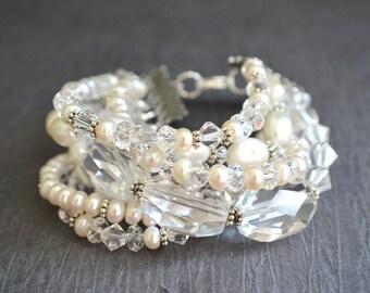 Sophia - Pearl Swarovski Bridal Statement Bracelet