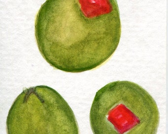 ACEO original Green Olives watercolor painting original. watercolors paintings, kitchen, food art, Spanish olives, Pimentos, small painting