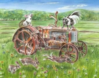 tractor watercolor, farm animal print, childrens farm artwork, rusty tractor, barnyard print, pig, skunk, rabbit illustration