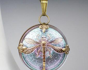 Dragonfly Necklace Aqua Lavender Czech Glass Button Oxidzed Brass Vintage Inspired Jewelry