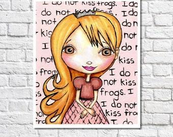 Princess Print. Pink Room Decor. Little Girl Fairy Tale Themed Nursery Art. Blonde Brunette Or Redhead Princess Wall Art. No Kissing Frogs.