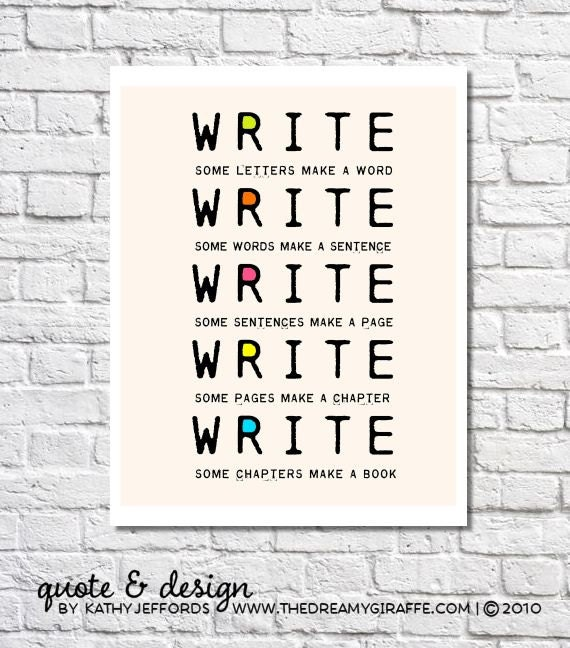 Write Write Write Typographic Print Book Writers Motivation Writing Gift Authors Quote Poster Classroom Decor Novelist Office Wall Art Idea