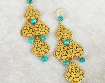 Turquoise Gold Brass Filigree Chandelier Earrings, Bohemian statement earrings, Gypsy Boho Earrings, Birthday gift idea, Gift for Her