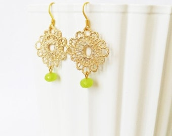 Delicate Gold Gemstone Earrings, Apple Green Crystal Earrings, Crochet Earrings, Boho chic earrings, Anniversary Gift for her