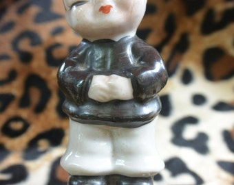 Little Vintage Chinese Boy Oriental Porcelain Figurine Asian Midcentury