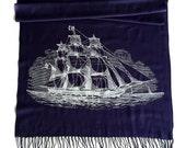 Clipper Ship Printed Scarf. Nautical Print Scarf. Boating, sailing silkscreen print. Linen weave pashmina. Choose navy blue, cream & more!