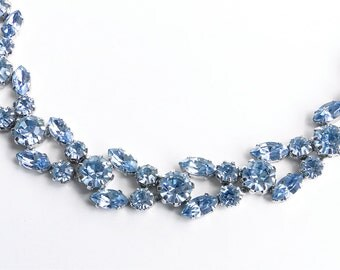 Fenichel necklace. Vintage Blue Crystal necklace.  Signed Austria. Rhinestone necklace
