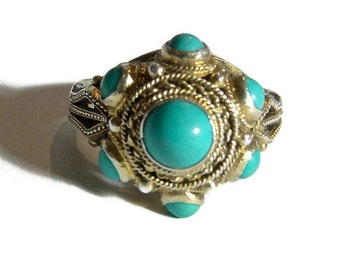 Turquoise ring. Chinese export, Silver, gold wash. China, Vintage Mid-century.