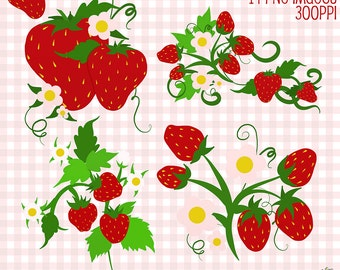 Strawberry Clip Art, Strawberry Digital Borders, Digital Download Strawberries Cliparts, Cute Clip Art, Digital Scrapbook Elements, Cliparts