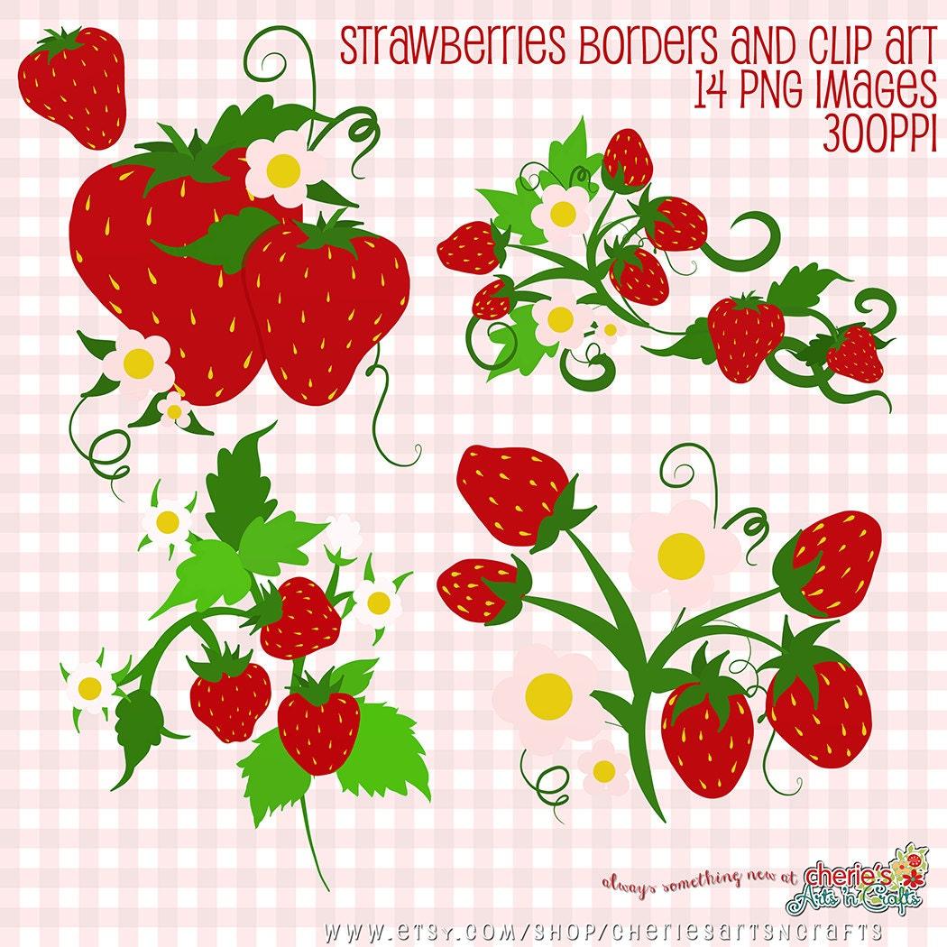 Strawberry Clip Art Strawberry Digital Borders Digital