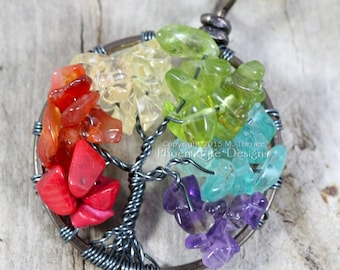 Rainbow Tree of Life Pendant Gunmetal Wire Wrap Jewelry Multicolor Gemstone Necklace Gay Pride LGBT Equality Chakra Yoga RTS