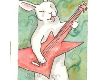 Original Watercolor Rabbit Painting - Explorer - ACEO