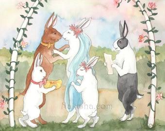 Original Art - I Do - Watercolor Rabbit Painting - Wedding Themed Art