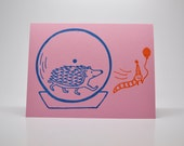 Pink Hedgehog Birthday Card, Hope your birthday is wheely great!