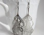 Silver filigree earrings, laser cut earring, filigree peacock earrings, delicate jewelry, feather earrings, hippie jewelry, silver earrings