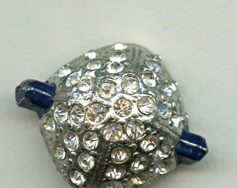 Art Deco Rhinestone Button Blue Vintage Painted Chunky Geometric 1 1/8  inch size Square 1157 Five Bucks