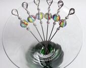Rainbow Striped Lampwork Glass Bead Stainless Steel Cocktail Picks Appetizer Picks Martini Barware Set of 6