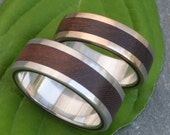 White Gold Lados Nacascolo Wood Ring - ecofriendly wood wedding band, 14k white gold exterior with sterling interior