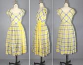 1950s dress / velvet / plaid dress / AFTERNOON LIGHT yellow dress