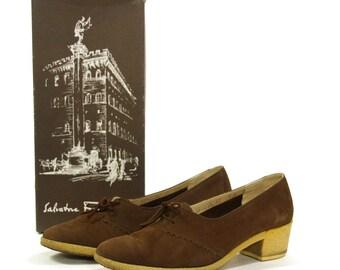 Ferragamo Brown Suede Loafers with Gum Soles / Women's sz 7