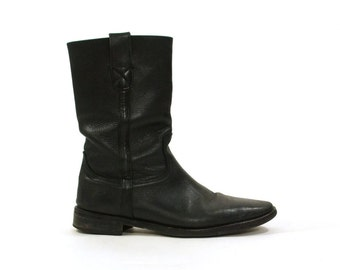 Kenneth Cole Motorcycle Boots / Black Leather / Women's Size 11.5 / Men's Size 10