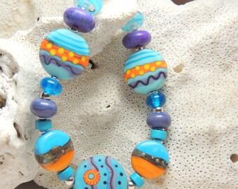 BEACH SUNSET Handmade Lampwork Bead Bracelet