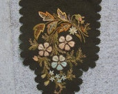 VINTAGE Victorian Wool Felt Floral Hand Embroidered  Motif w/Metallic Trim Doll Embellishment Applique Millinery