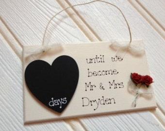 Personalised Countdown Rose Wedding Plaque Bride & Groom Engagment Gift Handmade