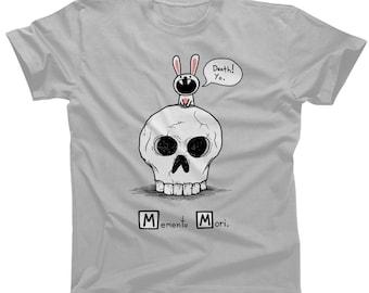 Memento Mori Death T-shirt - Mens and Ladies Sizes - Cute Funny Skull and Bunny TShirt