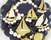 HALF OFF SALE! - Hand Mirror - Summer Regatta - Repurposed Jewelry - M001046