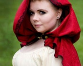 Bright Red Chenille With Black Lace Trim Hooded Capelet