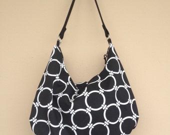 Black Hobo Bag, Canvas Fabric Bag, Black Shoulder Purse, Cotton Fabric Purse, Black Bag, Large Hobo Bag, Fabric Hobo Bag, Zipper Closure Bag