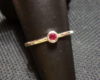 Ring lab Ruby in eco friendly recycled sterling silver - custom made in your size 3mm tube set  engagement July birthstone