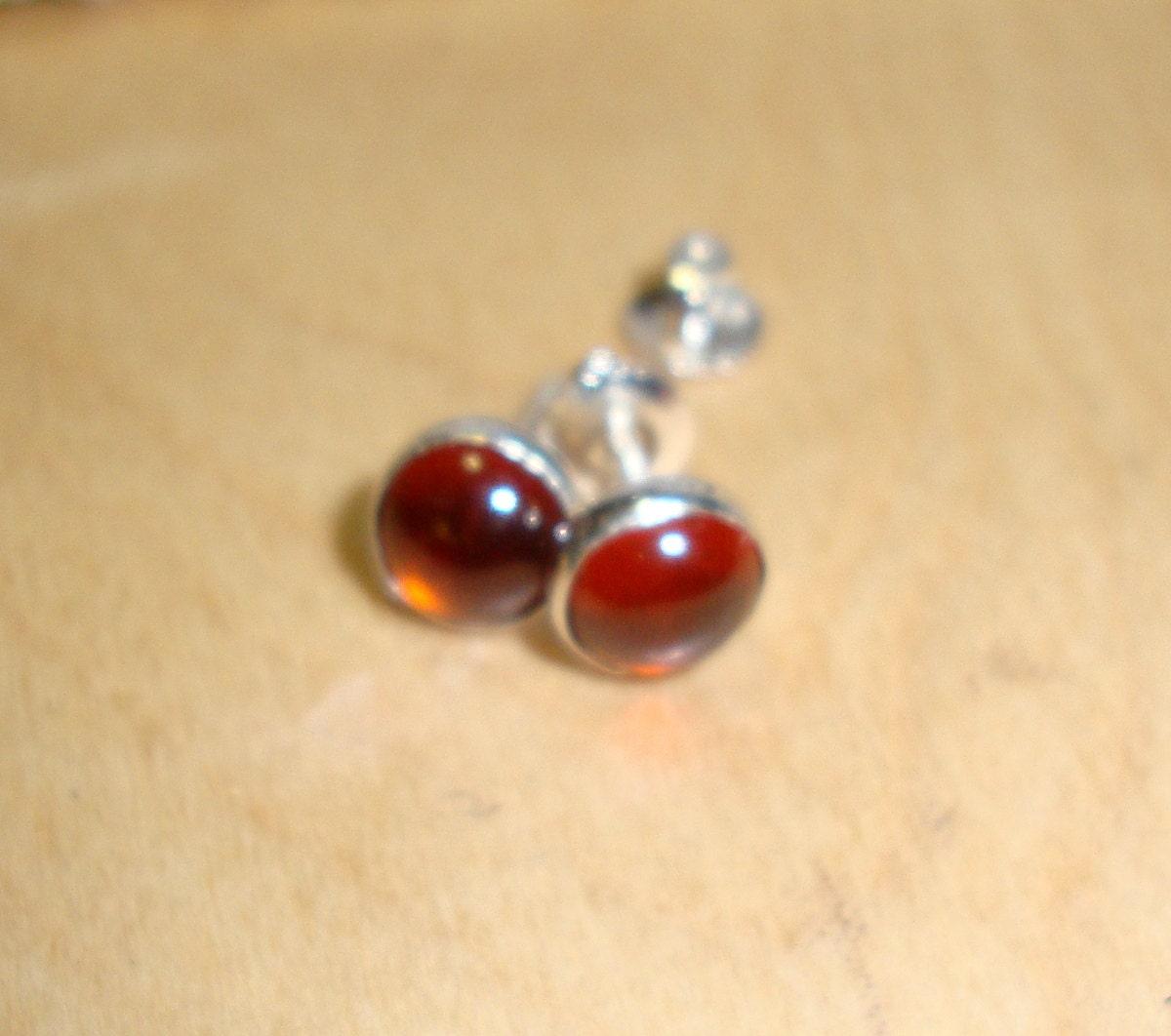 Cinnamon Hessonite Garnet Earrings Threaded screw-on posts