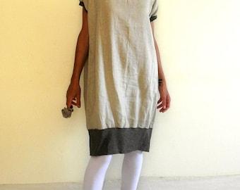 Ecru tunic dress, oversized linen dress, maternity linen dress, short sleeves dress, balloon dress