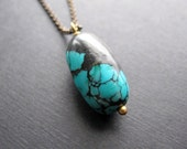 Turquoise Nugget Necklace, Pendant Necklace, Long Brass Layering Necklace, Turquoise Jewelry