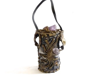 Metal Barrel Purse with Brass and Amethyst  Copa Collection Carvalhu Carvalhus Rio