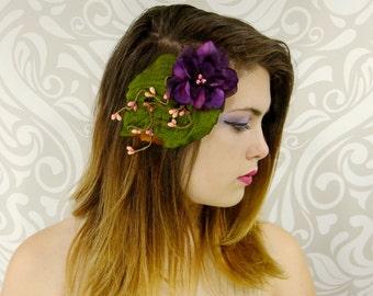 Woodland Hair Clip, Bridal Hair Accessory, Dark Purple and Green Hair Clip, Fairy Flower Fascinator, Bridesmaid Hair Clip