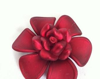 Womens Brooch - Velvet Red Flower Brooch - HUGE