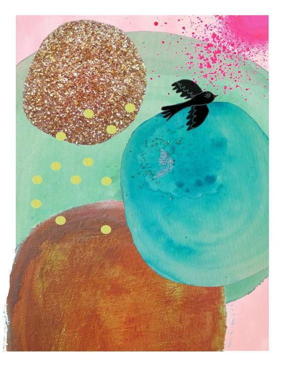 Landscape Abstract Seascape Watercolour Watercolor Painting Wall Art Digital Print Beach Decor Modern Art Mixed Media Neon Pink Glitter Blue