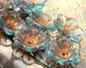 Aqua de Cuivre (10) -Czech Glass Domed Flowers 12x11mm