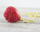 Red Druzy Necklace, Gold Fill Necklace, Bright Red Necklace, Wire Wrap Necklace, Red Pendant Necklace, Druzy Gemstone Necklace, Ruby Red