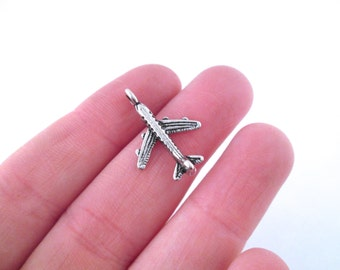Silver plated airplane charms 24x15mm, pick your amount, G192