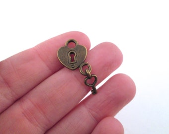20 brass padlock hearts charms with keys