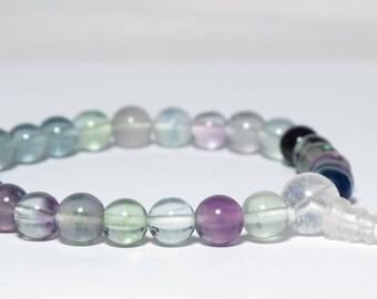 Rainbow Fluorite 27-Bead Wrist Mala